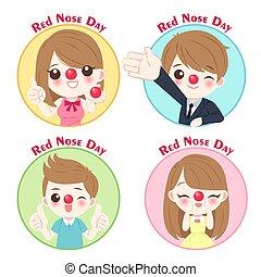 pessoas, dia, nariz vermelho