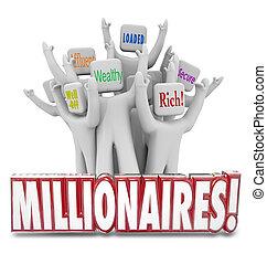 pessoas, dinheiro, obtendo, afluente, millionaires, ricos, ...