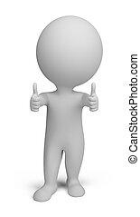 pessoas, dobro, -, cima, polegares, pequeno, 3d