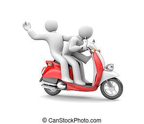 pessoas, dois, ilustração, moped., montando, 3d