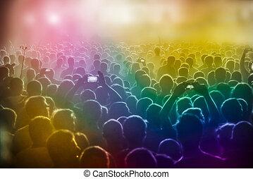 pessoas, em, a, concerto