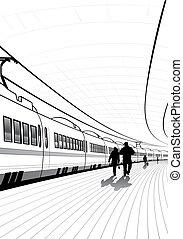 pessoas, em, a, estação de comboios
