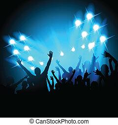 pessoas, em, um, concerto