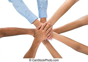 pessoas, empilhando mãos, junto