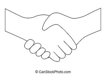 pessoas, entrar, aperto mão, entre, transação, ícone, dois