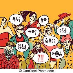 pessoas., equívoco, língua, estrangeiro