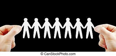 pessoas, equipe, em, mãos