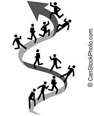 pessoas, escalando, ligado, cima seta