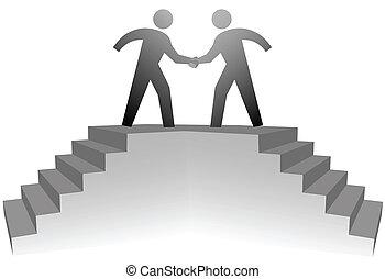 pessoas, escalar, escadas, para, reunião, plat