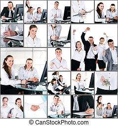pessoas escritório, colagem, foto, modernos, jovem