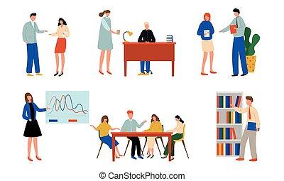 pessoas escritório, vetorial, ilustração, dia de trabalho,...
