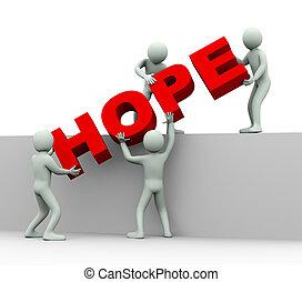 pessoas, -, esperança, 3d, conceito