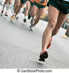 pessoas, executando, em, cidade, maratona