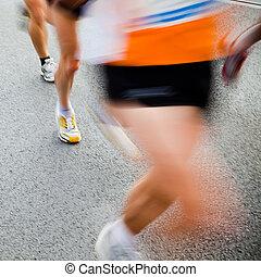 pessoas, executando, em, cidade, maratona, -, borrão moção