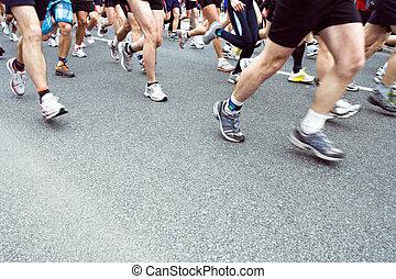 pessoas, executando, em, cidade, maratona, ligado, rua, borrão moção