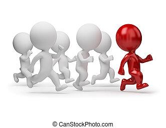 pessoas, -, executando, pequeno, líder, 3d