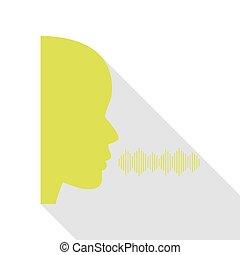 pessoas, falando, ou, cantando, sinal., pêra, ícone, com, apartamento, estilo, sombra, path.