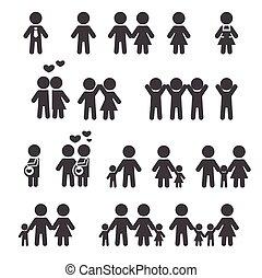 pessoas, família, ícone