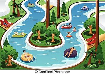 pessoas, flutuante, em, um, preguiçoso, rio, piscina
