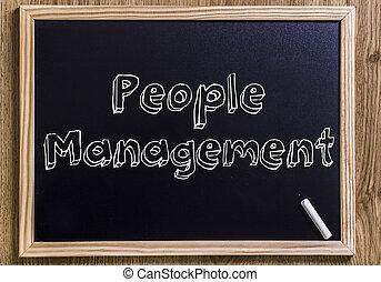 pessoas, gerência, -, novo, chalkboard, com, 3d, esboçado, texto