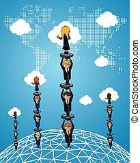 pessoas., global, trabalho equipe, negócio, sucesso