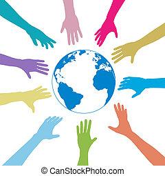 pessoas, globo, alcance, cores, mãos, terra, saída