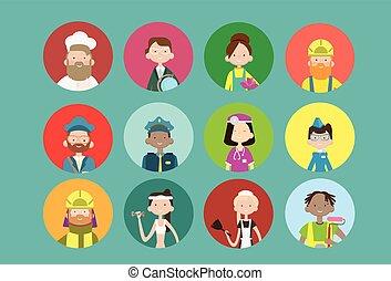pessoas, grupo, diferente, ocupação, ícone, jogo,...