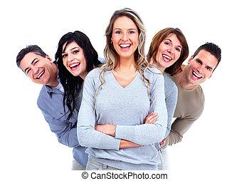 pessoas., grupo, feliz
