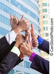 pessoas, grupo, negócio, junto, mãos