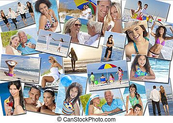 pessoas, homens, mulheres, crianças, família, férias praia, feriado