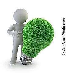 pessoas, -, idéia, verde, pequeno, 3d