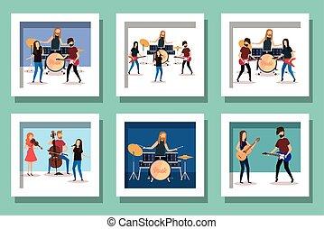 pessoas, instrumentos musicais, pacote