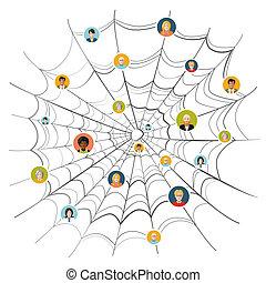 pessoas, isolado, teia, aranha, aderido, complicado, ...