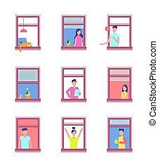 pessoas, janelas, homens, isolado, branca, abertos, mulheres