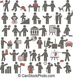 pessoas., jogo, ícones