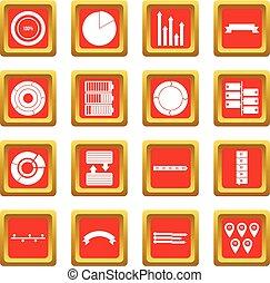 pessoas, jogo, vário, vermelho, ícones