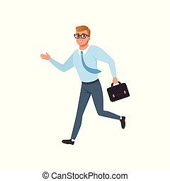 pessoas, jovem, diariamente, pressa, executando, vetorial, ilustração, fundo, rotina, atividade, branca, homem