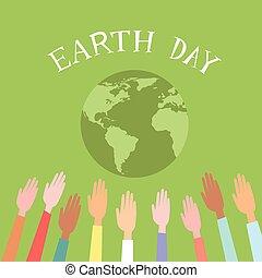 pessoas, levantado, cima, mãos, mundo, dia terra, globo verde