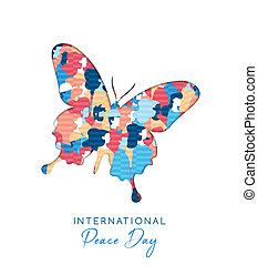 pessoas, liberdade, paz, internacional, dia, cartão