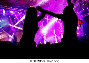 pessoas, ligado, concerto música, discoteca, partido.