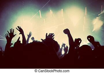 pessoas, ligado, concerto música, discoteca, partido., vindima
