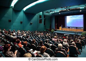 pessoas, ligado, conferência