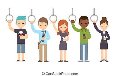 pessoas, ligado, metrô