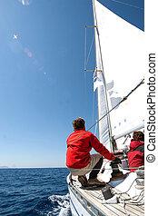 pessoas, ligado, sailing barco