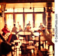 pessoas, loja café, borrão, fundo, com, bokeh, luzes