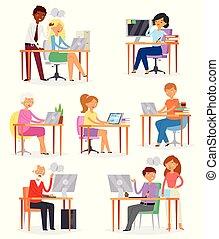 pessoas, lugar trabalho, vetorial, negócio, trabalhador, ou, pessoa, trabalhar, laptop, tabela, em, escritório, ilustração, jogo, de, mulher, ou, homem, personagem, com, computador, ligado, local trabalho, isolado, branco, fundo