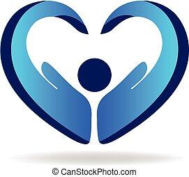 pessoas, mão, azul, ame coração, logotipo