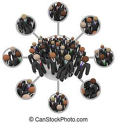 pessoas, mão-de-obra, ternos, diverso, conectado, ...
