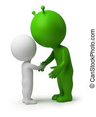 pessoas, -, mão, estrangeiro, abanar, pequeno, 3d