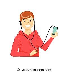 pessoas, móvel, série, fones, hands-free, telefone, parte, hoodie, sujeito, plugged, smartphone, falando